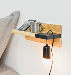 Brilliant Space Saving DIY floating bedside table for your bedroom I . - Brilliant Space Saving DIY floating bedside table for your bedroom Inspira Spaces – The urgen - Diy Furniture Nightstand, Table Furniture, Floating Nightstand, Floating Shelves, Furniture Design, Nightstands, Cheap Furniture, Small Nightstand, Bedside Shelf