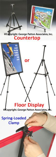 Display Easel For Floor Or Countertop, Adjustable Height, Portable - Black