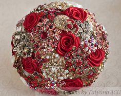 Ivory brooch wedding bouquet red and cream by TheBridalFlower