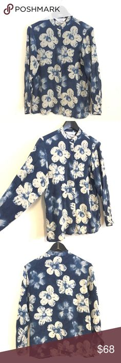"""MAXMARA Long Sleeve Indigo Floral Button Down Top MAXMARA • Button Down Blouse / Top • Indigo Dye Inspired Floral Print • Blue and Cream • 100 % Silk - Made in Italy • Pearlescent Shell Buttons with """"hidden"""" button closure • Short Collar • US Women's Size 10 • great Used Condition w/ Small repaired tear at right shoulder seam - see last three photos • MaxMara Tops Button Down Shirts"""