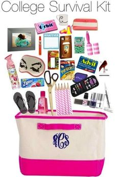 College Girl's Survival Kit College Girl's Survival Kit. College Girls, First Year Of College, First Year Student, Freshman Year, Preppy College, College Life, Uk College, College Student Gifts, College Packing