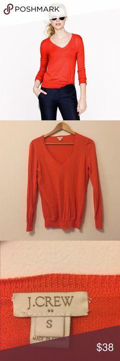 J. Crew • Orange V-Neck Sweater Lightweight orange sweater. Size small. Has a v neck. Good condition, very bright and fun! J. Crew Sweaters V-Necks