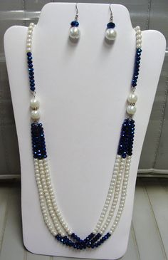 sale 10.00 off PEARLS and CRYSTALS NECKLACE with Earrings