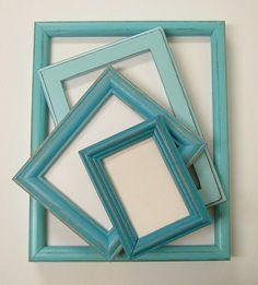 Shabby Chic Picture Frames Set Aqua by MountainCoveAntiques, $47.00