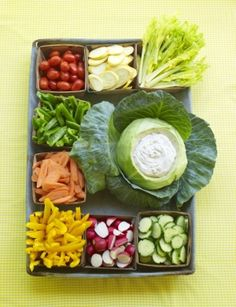 Peter rabbit or pat the bunny veggie platter... the dip in the cabbage is cool!
