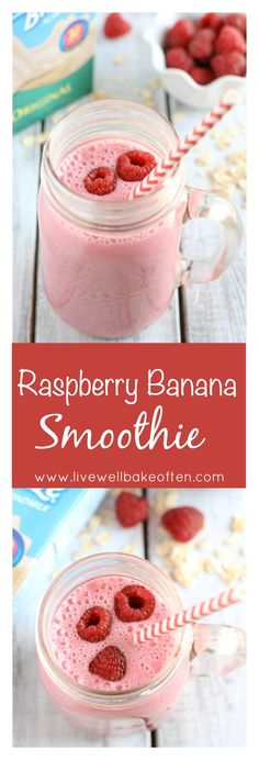 An easy and delicious smoothie filled with fresh fruit, almond milk, Greek yogurt, and other good for you ingredients. This Raspberry Banana Smoothie makes a perfect healthy breakfast or snack! [ad]
