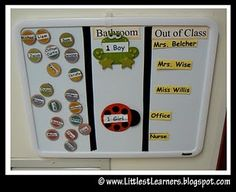 """Today's Featured Friday Topic is: A """"Where Are You?"""" Board  This idea comes from my friend Gail's 2nd grade classroom.  She used a magnetic white board and programmed it with the places a child would be when they are not in the classroom. These include the bathroom as well as our reading specialists, speech therapists, social worker, etc, She then made each child a magnet with his name on it. When the child leaves the room, he moves the magnet to the appropriate spot. The teacher can…"""