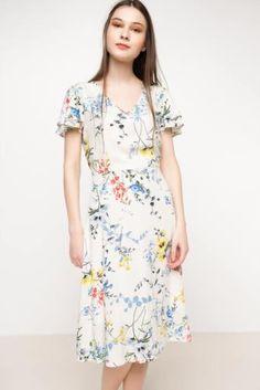 Elbise - Fırfır Kollu Desenli Elbise