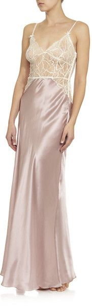 Jenny Packham Long Lace Top Chemise in Pink - Lyst