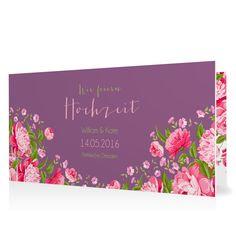 Hochzeitseinladung Blütenzauber in Lavendel - Klappkarte flach lang #Hochzeit #Hochzeitskarten #Einladung #kreativ #modern https://www.goldbek.de/hochzeit/hochzeitskarten/einladung/hochzeitseinladung-bluetenzauber?color=lavendel&design=a5a70&utm_campaign=autoproducts