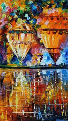 Balloon Reflections Painting by Leonid Afremov.