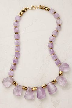Anthropologie EU Amethyst Cascade Necklace. This oh-so graceful amethyst necklace adds an elegant lilac pop to little black dresses and silky blouses.