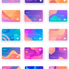 Finaci Financial debit/credit card UI 30 Cards with gradient with different color combination. Id Card Design, Credit Card Design, Banner Design, App Design, Branding Design, Website Design Layout, Layout Design, Ui Color, Card Ui