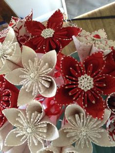 Flocked red and white wedding flowers made by Joyful Imaginings