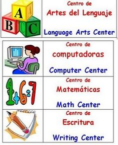 Learning Starts Here: Center Labels Bilingual Centers, Bilingual Classroom, Classroom Labels, Bilingual Education, Spanish Classroom, Classroom Ideas, Classroom Organization, Sign Language Chart, Sign Language Phrases