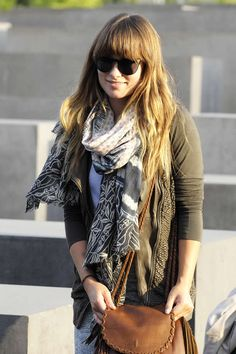 Casual boho style with scarf.