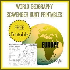 World Geography Scavenger Hunt: Europe ~ FREE Printable