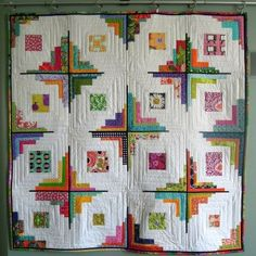 Images of converging corners log cabin quilts Colorful Quilts, Small Quilts, Mini Quilts, Scrappy Quilts, Log Cabin Quilt Pattern, Log Cabin Quilts, Log Cabins, Strip Quilts, Quilt Blocks