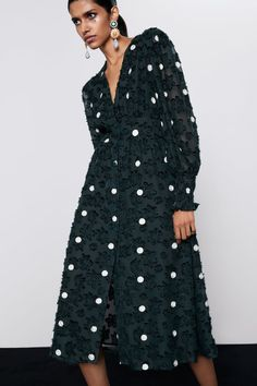 Women's Party Dresses | New Collection Online | ZARA United Kingdom Fabric Covered Button, Covered Buttons, Dot Dress, V Neck Dress, Zara Home Stores, Party Dresses For Women, Zara Dresses, Sequin Dress, Polka Dots