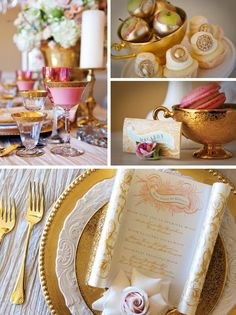 elaborate gold cake | Table Design: French Royal Elegance - Exquisite Weddings