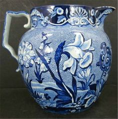 1860s Romantic Aesthetic Dark Light Blue Pitcher Unknown Staffordshire Pottery