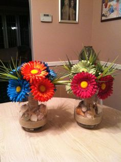 Beach Themed Centerpieces :  wedding beach sea shells engagement flowers diy reception