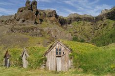 Hobbit Cottage by toine74  note:  Traditional Icelandic dwellings in Nupsstadur. The half-buried house are designed for optimal insulation. The roof is made of turf.