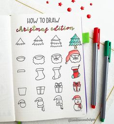 🙋 Today I am sharing X-mas how to draw tutorial. I have been having trouble with editing pics lately. It seems Bullet Journal Christmas, December Bullet Journal, Bullet Journal Books, Bullet Journal Layout, Bullet Journal Ideas Pages, Bullet Journal Inspiration, Christmas Doodles, Christmas Drawing, Merry Christmas