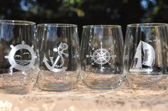 Nautical Wine Glass set with Sailboat Ships Wheel Compass Rose Anchor Optional Personalization Glass Engraving, Compass Rose, Wine Glass Set, Stemless Wine Glasses, Wine Time, Vintage Marketplace, Glass Etching, Etched Glass, Rustic Barn