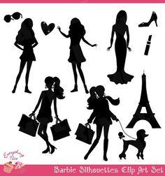 Barbie+Black+Silhouettes+Clip+Art+Set+by+1EverythingNice+on+Etsy,+$5.00 Silhouette Clip Art, Black Silhouette, Silhouette Projects, Cricut Monogram, Cricut Vinyl, Barbie Room, Barbie Barbie, Vintage Barbie Party, Birthday Bbq