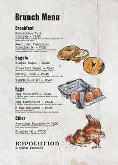 Breakfast Menu Graphic Design, Cool Illustration, Bar Menu Design by www.diagramdesign.co.uk