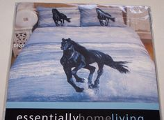 Running Horse Printed Queen Bed Microfibre Quilt Cover Set New Girls Bedroom, Bedroom Ideas, Bedroom Decor, Horse Bedding, 3d Bedding Sets, Running Horses, Decorating Bedrooms, Bed In A Bag, Horse Print
