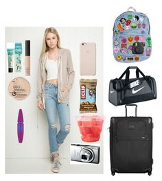 """""""11-6-15 on our way to the airport have to take one plane at 11:00 to 3:00 then go to a hotel for the night then 8:00 to 12:00 then we will be on new york✈️"""" by addy-is-goals ❤ liked on Polyvore featuring beauty, Tumi, NIKE, NARS Cosmetics, Rimmel, Benefit, Maybelline and Fuji"""