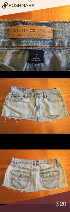 Vintage Tommy Hilfiger Denim Micro Mini Skirt Vintage mini skirt that was cut to be micro mini Super cute! *PRICE NEGOTIABLE* Tommy Hilfiger Skirts Mini