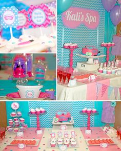 Spa Birthday Party Makeup Party Girls Spa by LillianHopeDesigns Girls Pamper Party, Sleepover Birthday Parties, Girl Spa Party, Bachelorette Parties, Birthday Ideas, Birthday Crafts, Kinder Spa Party, Unicorn Party, Party Printables