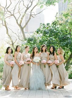 Beige bridesmaid dresses: http://www.stylemepretty.com/2014/10/28/classic-wedding-at-the-los-angeles-music-center/ | Photography: Esther Sun - http://www.esthersunphoto.com/