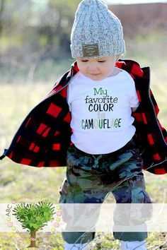 My Favorite Color is Camoflauge Boutique Embroidery Shirt by ABC Creative Learning