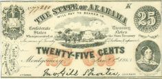 1863 State of Alabama 25 Cents Note