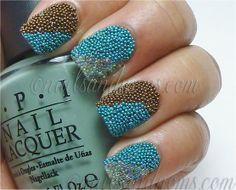 Striped Two-Tone Caviar Manicure