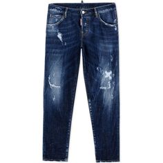 Dsquared2 Denim Trousers ($320) ❤ liked on Polyvore featuring pants, jeans, blue, dsquared2 pants, denim trousers, blue pants, dsquared2 and denim pants