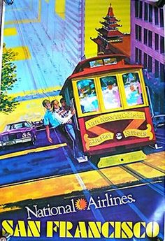 National Airlines | Beautiful Vintage San Francisco Travel Posters