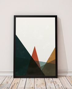 Geometric mountains Abstract print от ShopTempsModernes на Etsy