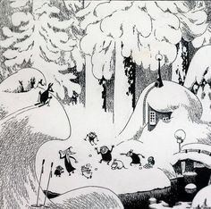 Tove Jansson black and white Moomin ink illustration. Now that's what I call winter Art And Illustration, Black And White Illustration, Ink Illustrations, Tove Jansson, Graphic, Painting & Drawing, Troll, Fantasy Art, Artsy