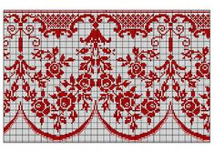 des roses free cross stitch chart for a border - saving this one for a closer…Altar Border With Roses pattern by Eduard Boucharit - there are many many other filet designs to use on this linkru / Photo # 61 - still monochrome jacquard + - irisha-ir Free Cross Stitch Charts, Cross Stitch Borders, Cross Stitch Rose, Cross Stitch Flowers, Cross Stitch Designs, Cross Stitching, Cross Stitch Embroidery, Embroidery Patterns, Cross Stitch Patterns