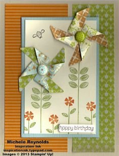Handmade birthday card by Alayne Kerbert.  Uses Stampin' Up! products - Wishes Your Way Set, Sweet Summer Set, Unfrogettable Set, Flower Filled Set, Everyday Enchantment Designer Series Paper, Everyday Enchantment Ribbon & Brad Pack, and Pinwheel Sizzlits Die.