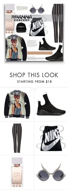 """""""Work"""" by deepalika-deb ❤ liked on Polyvore featuring Puma, Topshop, NIKE, Manolo Blahnik, A-Morir by Kerin Rose, concert, Rihanna and polyvorecontest"""