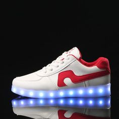 B1098 Kids Led Sneakers White&Red - Flashing.Shoes - 1