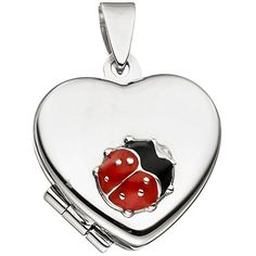 Silver children's locket Ladybug for up to 2 pictures. Made of 925 sterling silver, with red and black lacquer finish. Dimensions x x x 7 mm. Modern Jewelry, Fine Jewelry, Jewellery, Kids Bracelets, Kids Earrings, Jade Pendant, Photos For Sale, Ladybug, Heart Shapes