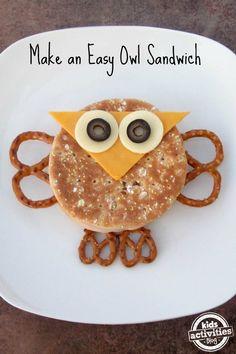 Make An Easy Owl Sandwich #kids #eat #kidseating #nice #tasty #food #kidsfood #desser