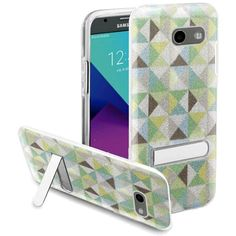 Insten Neon Checker Hard Snap-on Case with Stand For Samsung Galaxy Amp Prime 2/ Express Prime 2/ J3